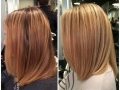 Before and After by Casey From brassy to light blonde.