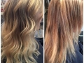 From ombre to bright blonde. Hair by Casey.