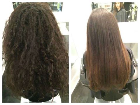 Brazillian Blowout eliminated the frizz and left the client with healthy conditioned hair with a lustrous shine.